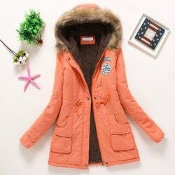 Płaszcz kobiety gruby płaszcz zimowy ciepłe z kapturem kieszenie Slim Faux futro Parka kurtka kobiet 2