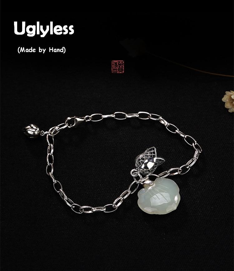 Uglyless Real 925 Sterling Silver Jewelry Nature Jade Charms Bracelet Sweet Heart-shape Women LOVE Bracelets Lotus Bijoux Orchid sweet solid color forbidden love shape bracelet for women
