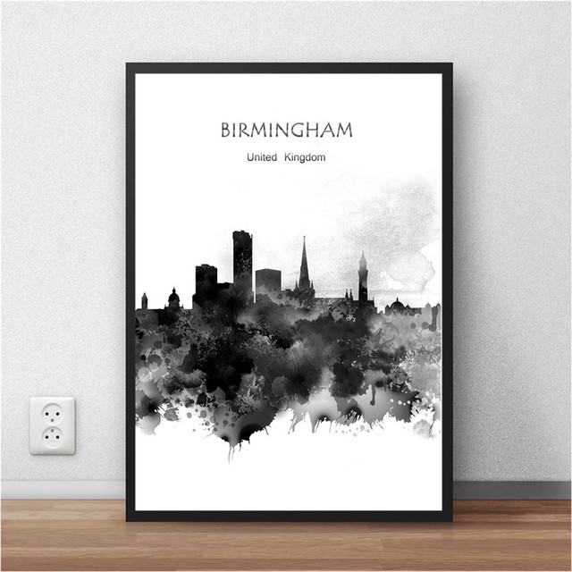 World City Watercolor BIRMINGHAM UK Print Poster Home Decor Abstract Mesmerizing Home Decor Stores In Birmingham Al