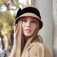 Peri Rüyalar Yün Panama Caps Sonbahar Kış Siyah Kırmızı Mavi mor Kadın kova Şapka Sıcak Marka Vogue Bow Başlık Ekose şapka