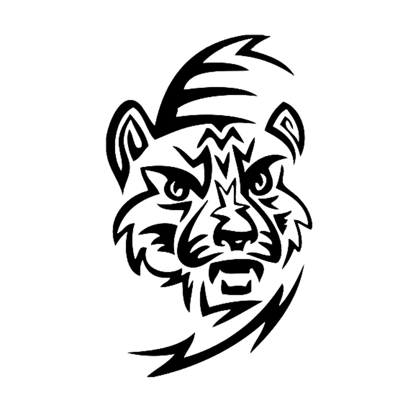 tribal tattoo tiger head car accessories car sticker black silver s3 5253 in car. Black Bedroom Furniture Sets. Home Design Ideas