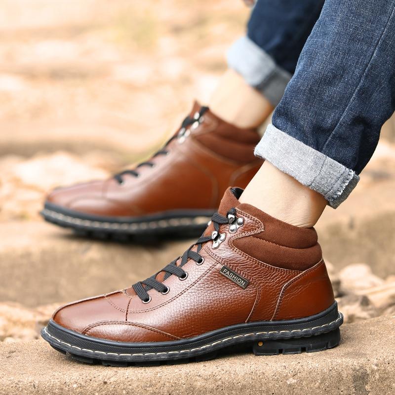 Alta De Moda Qualidade Couro Sapatos Genuíno brown Do Boots Inverno Preto Botas Pele Com Tamanho Black Ankle Grandes Homens Quentes RxCqIwC1