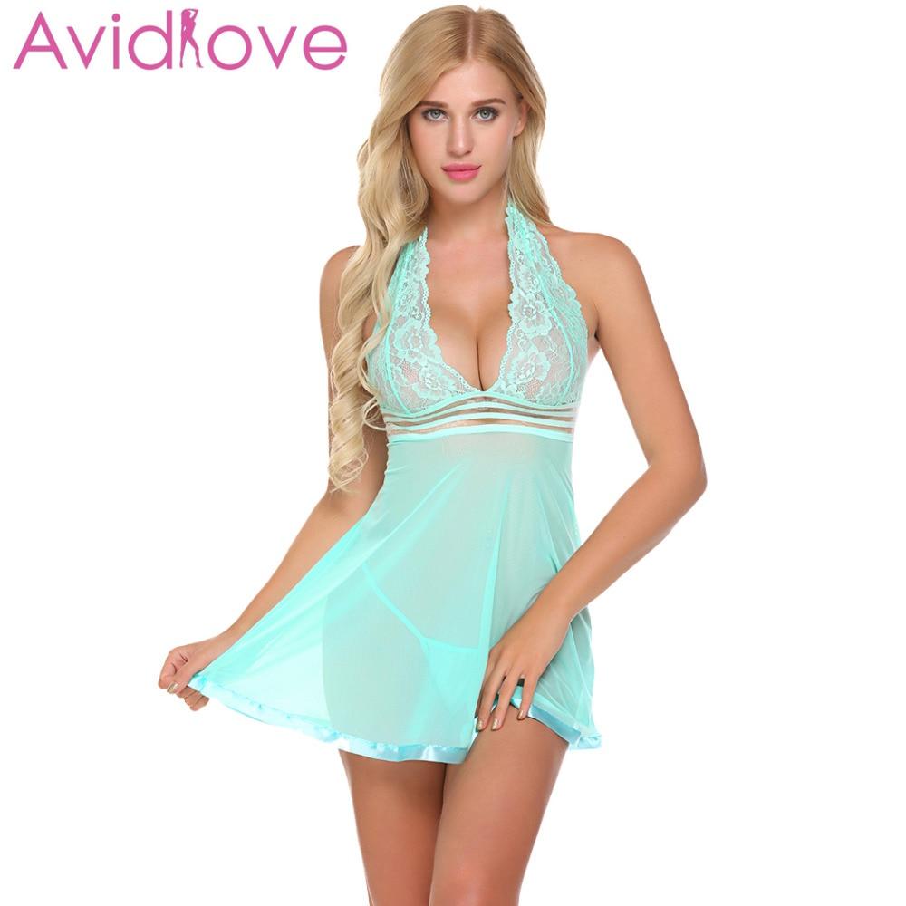 Buy Avidlove Women Sexy Lingerie erotic Underwear Costumes Babydoll Sexy Lingerie Halter Set G-String lenceria