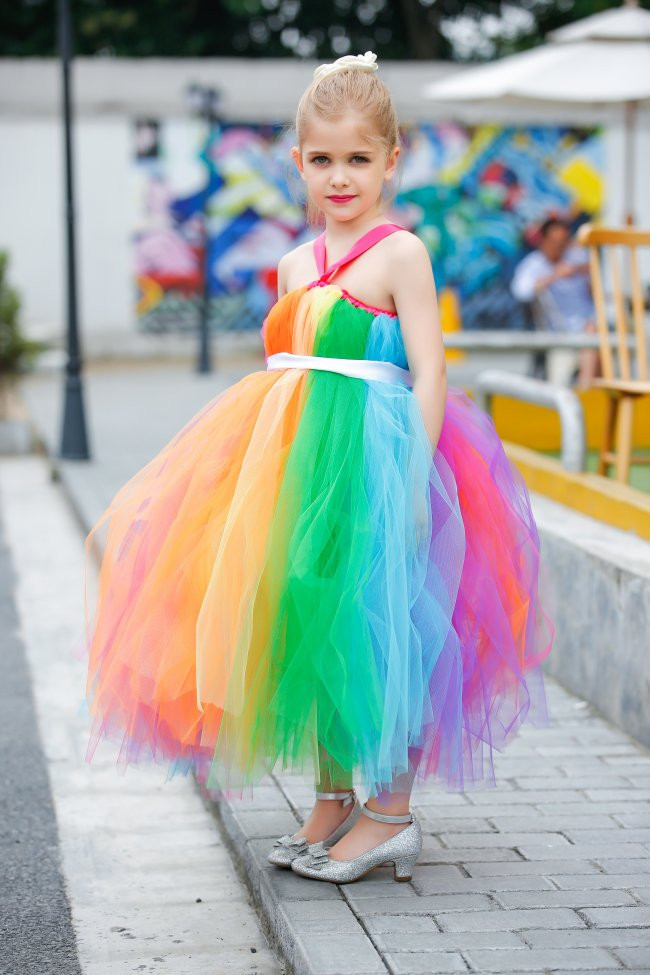 ФОТО Festival Colorful Flower Girl Dresses Princess Ankle-Length Rainbow Designs Baby Girls Tutu Dress For Wedding/Birthday Party T38