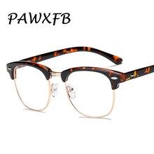 PAWXFB 2019 Classic Half Frame Square Eyeglasses Optical Spectacle Frames Rivet Men Women Clear Len Glasses Eyewear