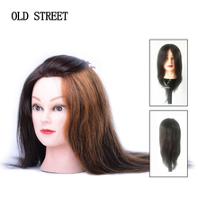 16inch Mannequin Head Straight 100% Human Hair Hairdresser Training Perm Bleaching Dyeing Haircut Manikin Cosmetology Doll