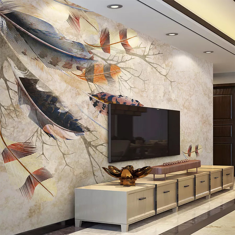 Custom Wallpaper 3D Retro Color Feather Texture Branches