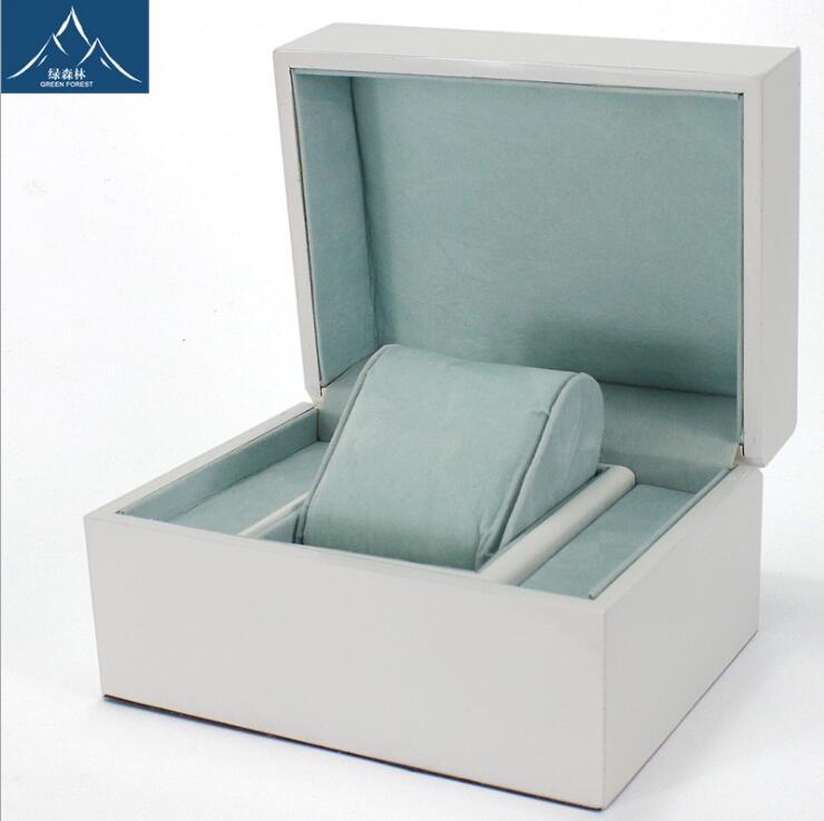 2018 белый роспись деревянной коробке ювелирные изделия Box Простой Flip Fold часы Подарочные часы подарок Дисплей организованной Caixa Para relogi