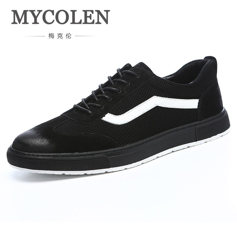 MYCOLEN New 2018 Spring Autumn Breathable Black Canvas Shoes Men Flats Lace-Up Fashion Mens Casual Shoes Brand Sneaker