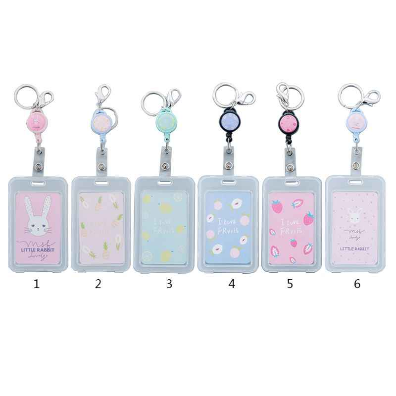 Cute Cartoon Retractable Badge Card Holder Pull ID Name Card Badge Holder School Office Supplies