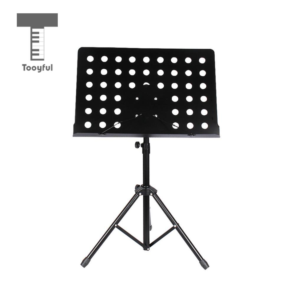 Tooyful Durable Music Score Stand Mount with Adjustable Metal Tripod for Concert Stage Practice Accessory Black цена и фото