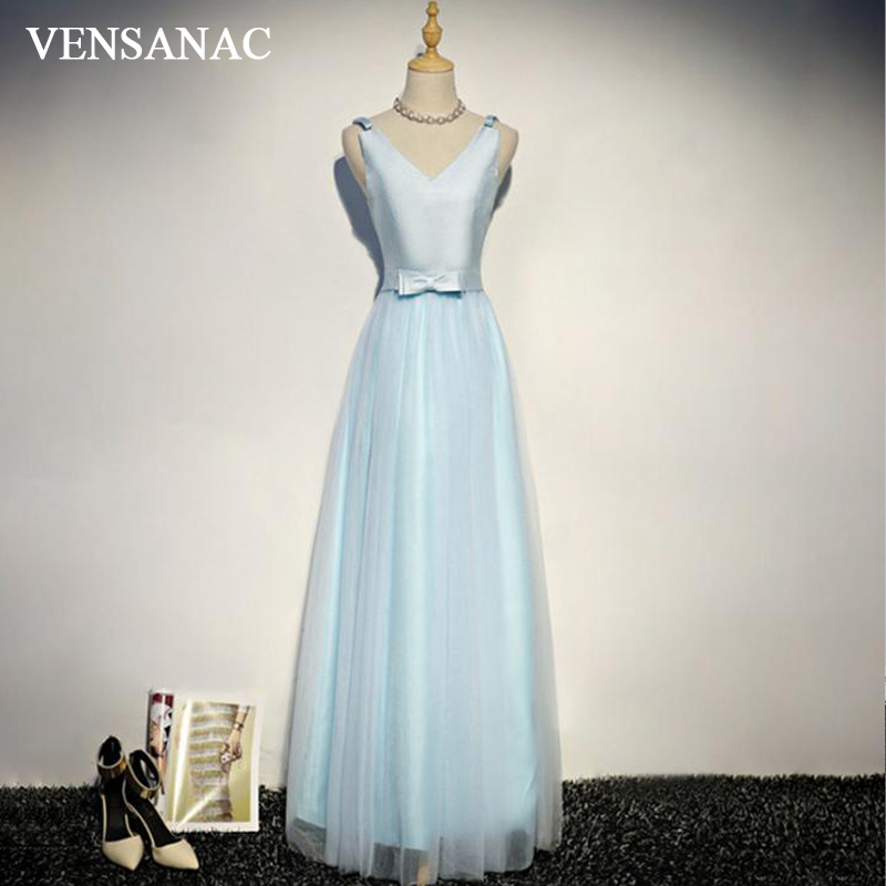 VENSANAC 2018 Elegant V Neck Bow Sash Sleeveless A Line Long Evening Dresses Party Satin Tank Backless Prom Gowns in Evening Dresses from Weddings Events