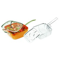 Grand Innovation Induction Based Non Stick Copper Ceramic Coated Frying Pan 9 5 Inches Square 5