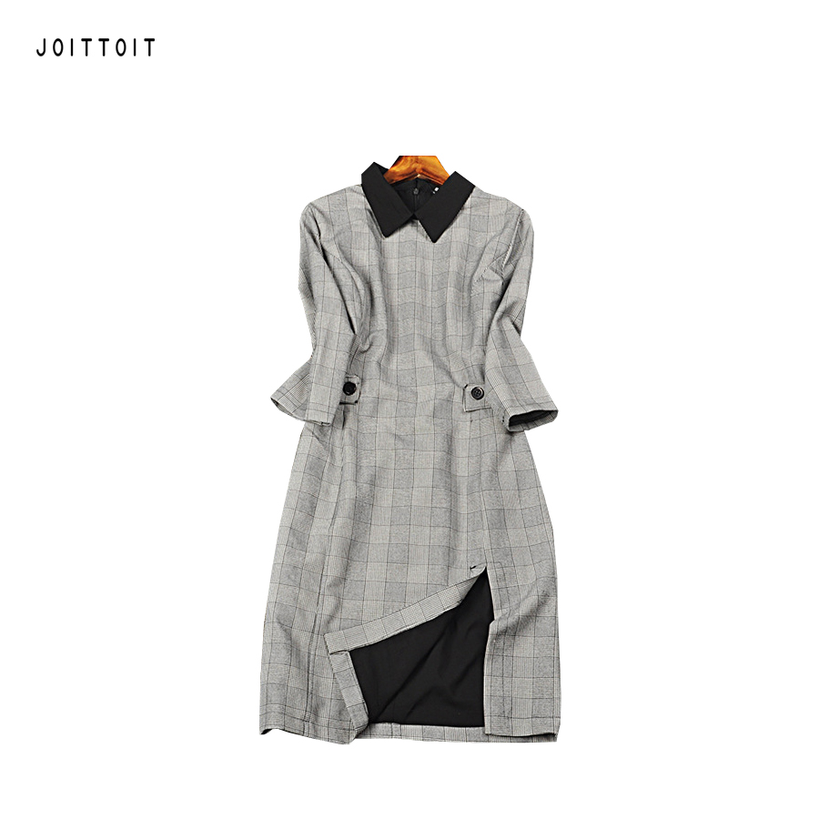Black dress with white peter pan collar - Women Autumn Dress Office Ladies Black Peter Pan Collar Patchwork Plaid Grey Pencil Dress Three Quarter