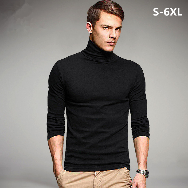 Plus size 2017 spring brand men 39 s elastic t shirt solid for Turtleneck under t shirt