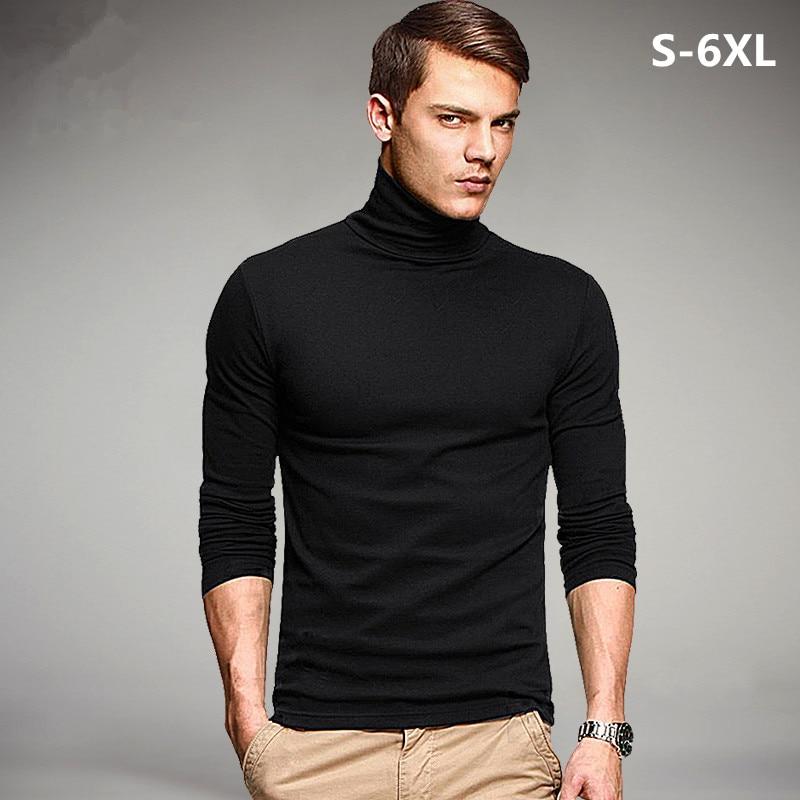 Plus Size 2019 Spring Brand Men's Elastic T Shirt Solid Turtleneck Long Sleeve TShirt Men Slim Summer Casual Man T Shirts S-6XL