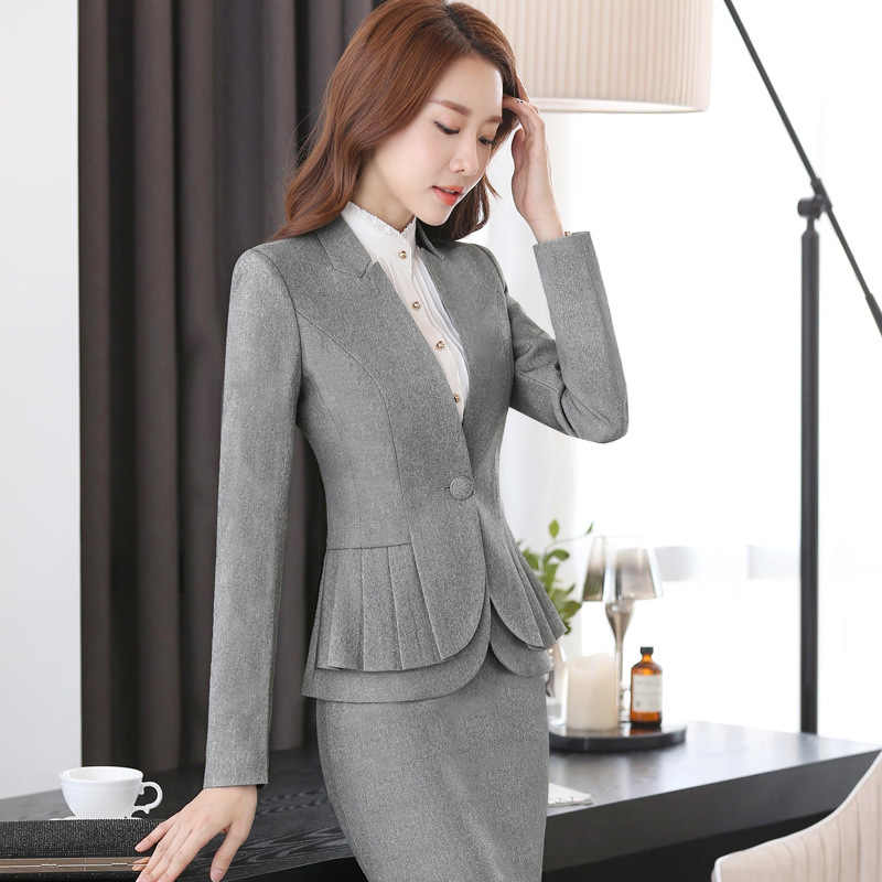 c7f50e3f40 ... 2018 Winter formal elegant Women's Blazers Work Suits ladies Skirt  Jackets suit set office lady uniforms ...