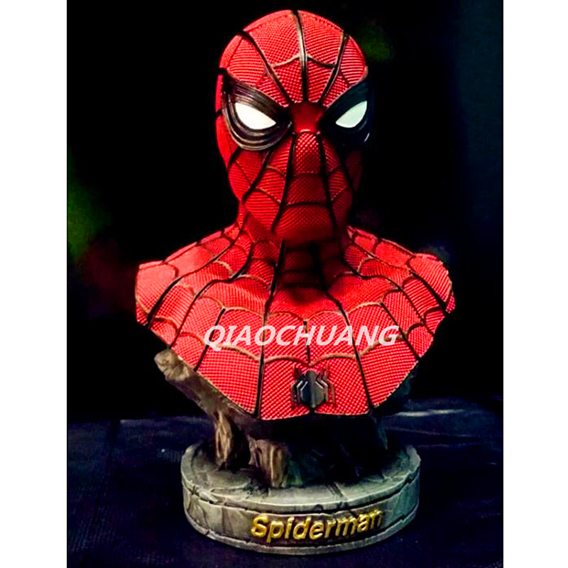 Statue Avengers Superhero Bust Spider-Man Peter Parker 1:4 Half-Length Photo Or Portrait Resin Collectible Model Toy Boxed W133 statue avengers iron man war machine bust 1 1 life size half length photo or portrait collectible model toy wu849