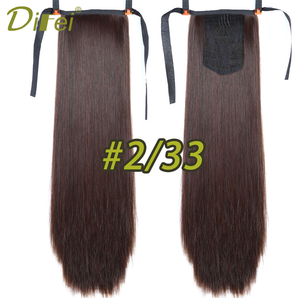 Synthetic Hair Fiber 22 55cm Straight Ribbon Ponytail Heat Resistant Hair Extension 12 Colors Available DIFEI
