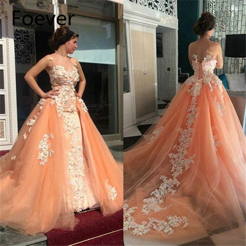 Dubai Kaftan Muslim Evening   Dress   with Detachable Train Orange Tulle/Patch Lace A-Line   Prom     Dresses   Long