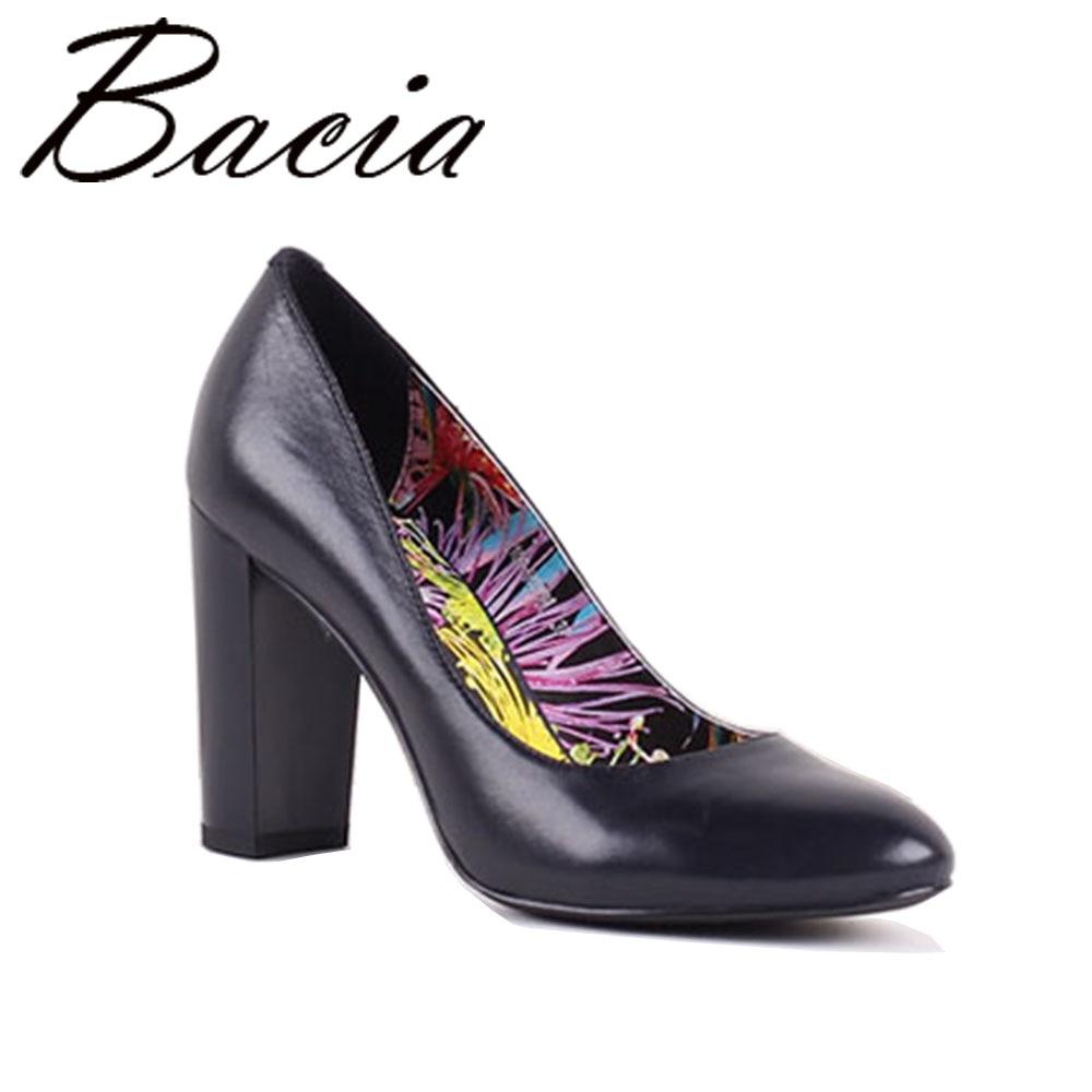 Bacia Shoes Sheepskin Woman High Heels Pumps 9CM Genuine Leather Round Toe Pumps Black Women Party Shoes Pump Size 35-40 SB031 цена