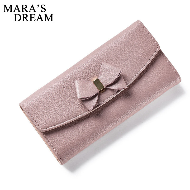 Mara's Dream Women Long Clutch Wallets Female Fashion PU Leather Bowknot Coin Bag Phone Purses Lady Card Holder Wallet Money Bag new baellerry pu leather women organizer long wallet bowknot money purse ladies coin phone clutch hand bag card holder pouch box
