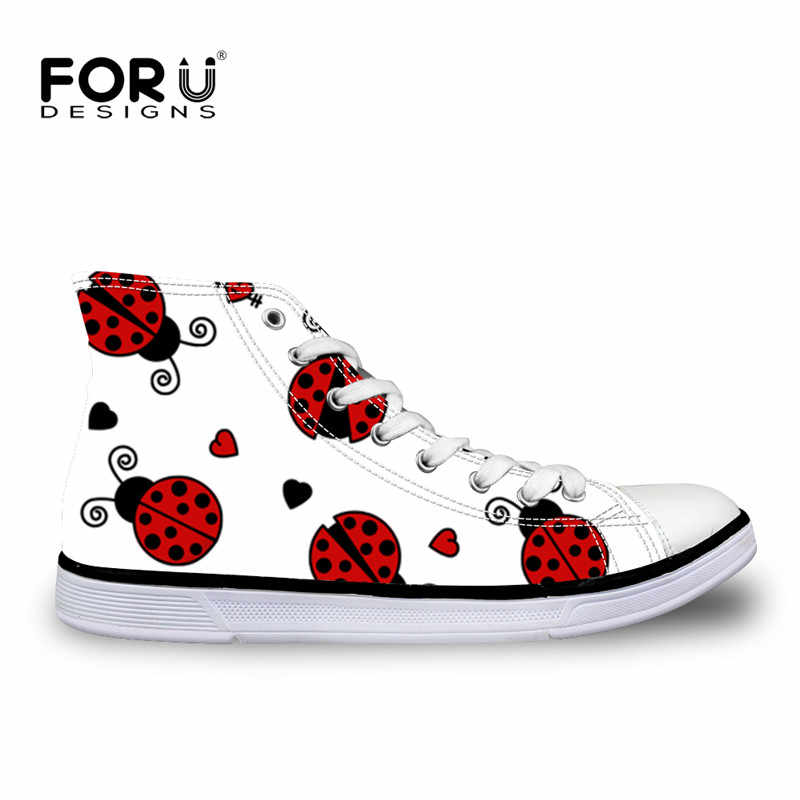 FORUDESIGNS Women Vulcanize Shoes Flats Cute Red Ladybug Pattern Women  Casual Shoes High Top Canvas Tenis f24ed500fab8