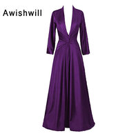 Sexy Long Sleeve Formal Evening Dresses 2018 A Line Satin Floor Length Prom Party Gowns for Women Deep V Neck Vestido De Festa