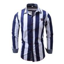 Европейский код рубашка Для мужчин высокое качество Полосатая хлопковая Футболка Для мужчин S Повседневное рубашка Slim Fit с длинным рукавом социальных мужской Рубашки для мальчиков