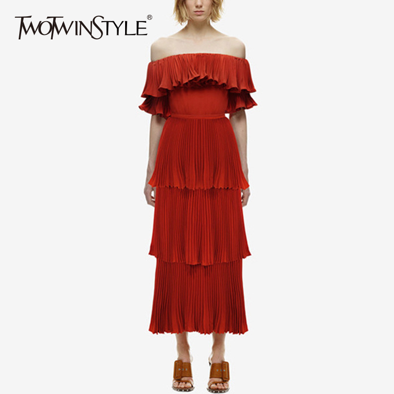 TWOTWINSTYLE Ruffles Red Dress Womens Off Shoulder Slash Neck Tunic High Waist Ruched Long Dresses 2018 Spring Fashion Clothing forefair trend slash neck off the shoulder ruffles bodycon dress spring autumn women long sleeve slim knitted dresses