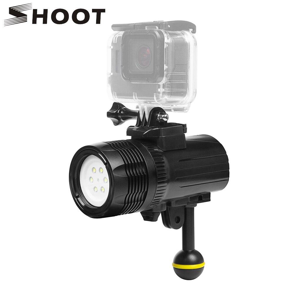 SHOOT Waterproof LED Diving Light for Gopro Hero 6 5 3 4 h9 SJCAM SJ4000 Underwater Flashlight For Yi Lite 4K+ Camera Accessory