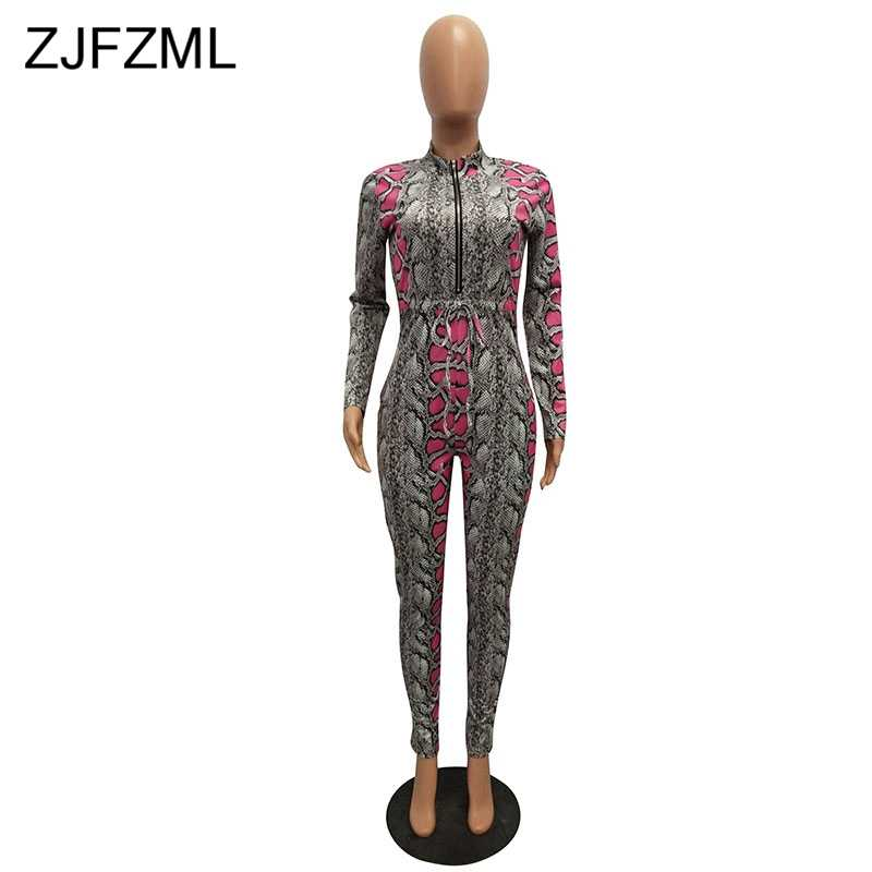 b831a2c75e7 ... Snake Skin Print Sexy Romper Women Jumpsuit Front Zipper Long Sleeve  Skinny Party Overall Vintage Stand ...