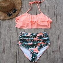 2018 Bikini Set Double Ruffle Swimwear Women Sexy Swimsuit Off Shoulder High Waist Swim Wear Beach Bathing Suits Plus Size 3XL