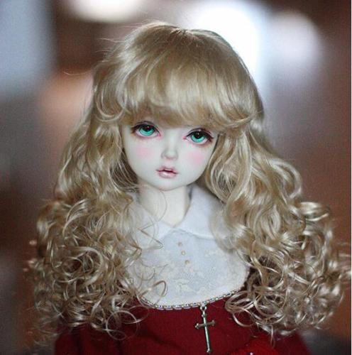 где купить New 1/3 9-10inch 22-24cm 1/4 7-8inch 17~19cm 1/6 6-7inch 15-16.5cm Imitation mohair Flax gold/Brown Wavy hair  BJD Doll Wig по лучшей цене
