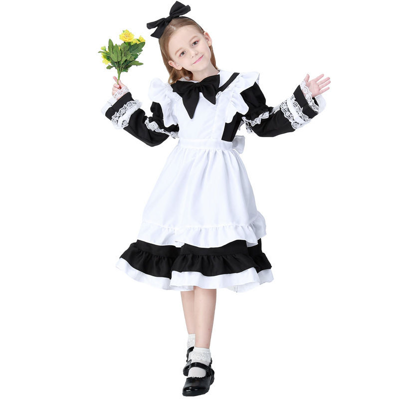 Hot Sale Cute Kids Child Girl Princess Cosplay Costume Maid Headband Costume Fancy Dress Suit Halloween Carnival Party Costume