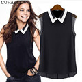 2017 Women's Chiffon Tops Autumn Summer Brand Tee T Shirt Casual Turn Down Collar Fashion Sleeveless T-Shirts Hot Clothes S038