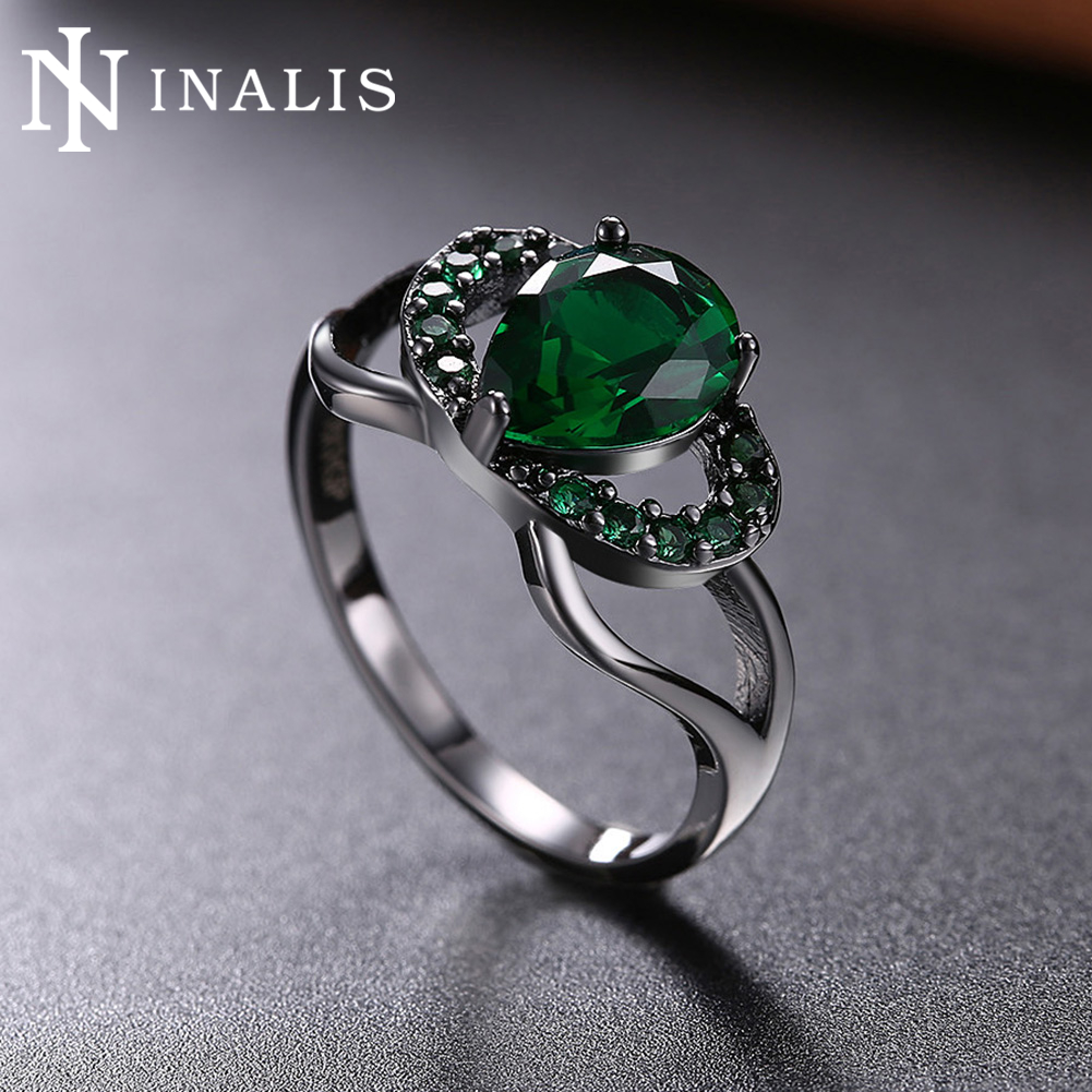 Inalis Vintage Round Ring Green Black Pink Blue Cz Fashion Men Women  Wedding Jewelry Black Gold
