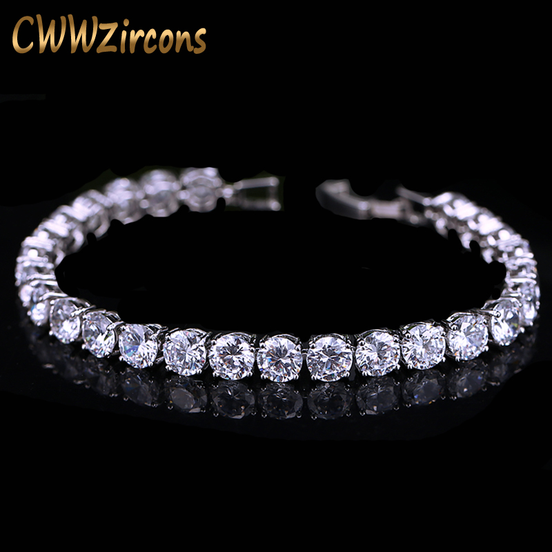 CWWZircons 2018 Latest Design White Gold Color AAA+ Round 0.5 carat Cubic Zirconia Tennis Bracelet Jewelry For Woman CB058
