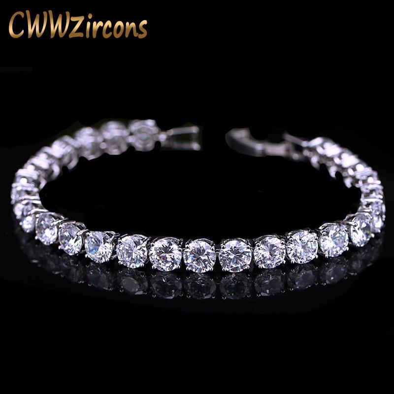 CWWZircons 2018 Senaste Design Vitguldfärg AAA + Runda 0,5 karat Cubic Zirconia Tennisarmband Smycken För Kvinna CB058