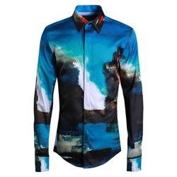 Nieuwe Jade Inkt Figuur mannen Shirt Ropa Hombre 2018 Mannen Dress Shirts Lange Mouwen Streetwear Mannen Kleding