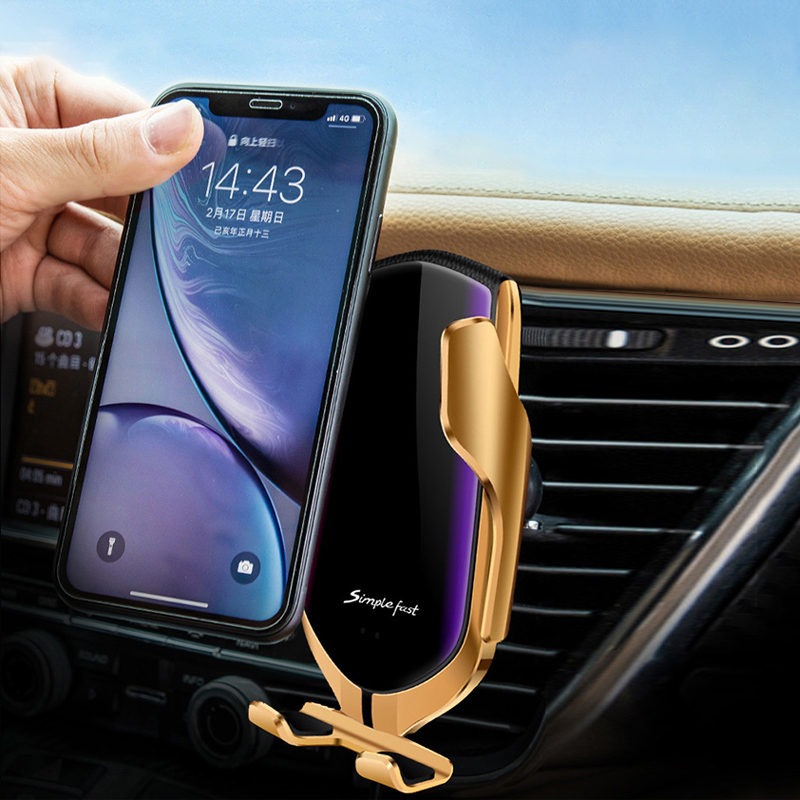 10W Car Wireless Charger For iPhone Samsung Smart Auto Clamp Infrared Sensor Holder Mount in Car Qi Fast Charging Phone Bracket