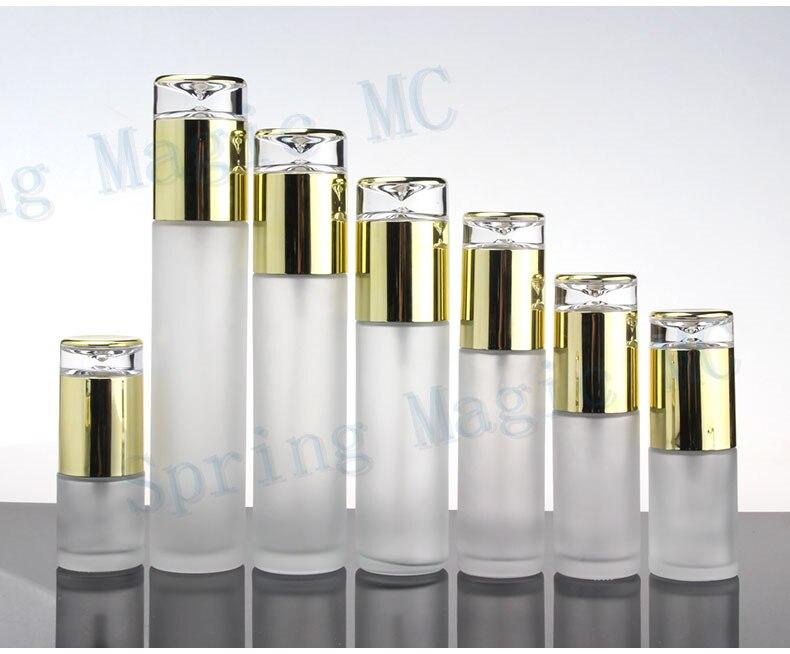 Frosted Glas Emulsie Fles Met Gouden Pomp/Sproeier, Huidverzorging Container, parfum/Lotion/Essence/Foundation Flesjes-in Hervulbare Flessen van Schoonheid op  Groep 1