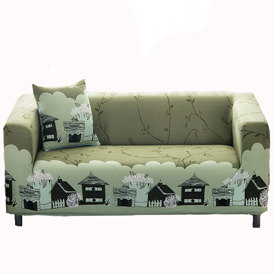 Green universal stretch sofa covers for living room multi
