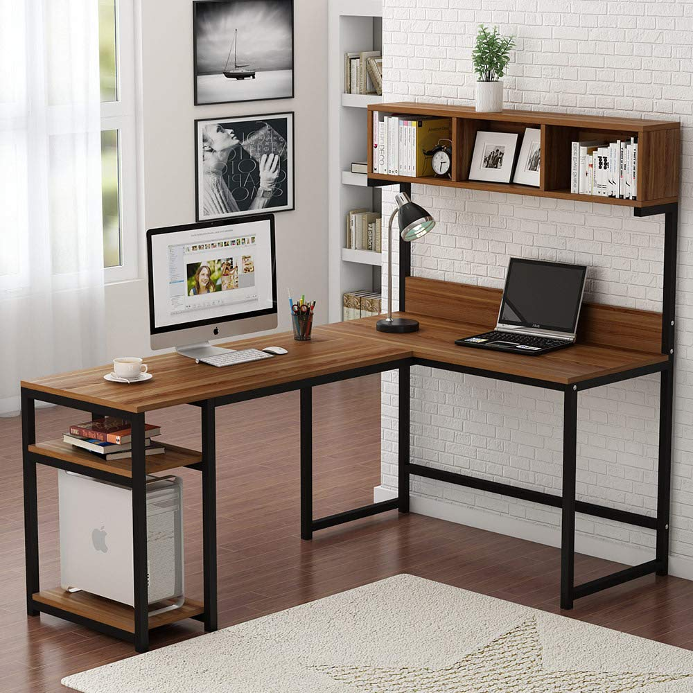 L-Shaped Desk with Hutch Corner Computer Desk with Shelf Gaming Writing Table Workstation with Storage Bookshelves Home Office(China)