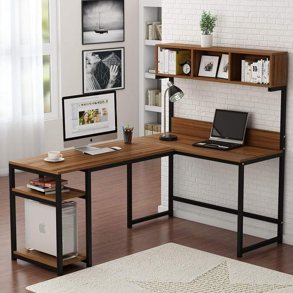 - L Shaped Desk With Hutch Corner Computer Desk With Shelf Gaming