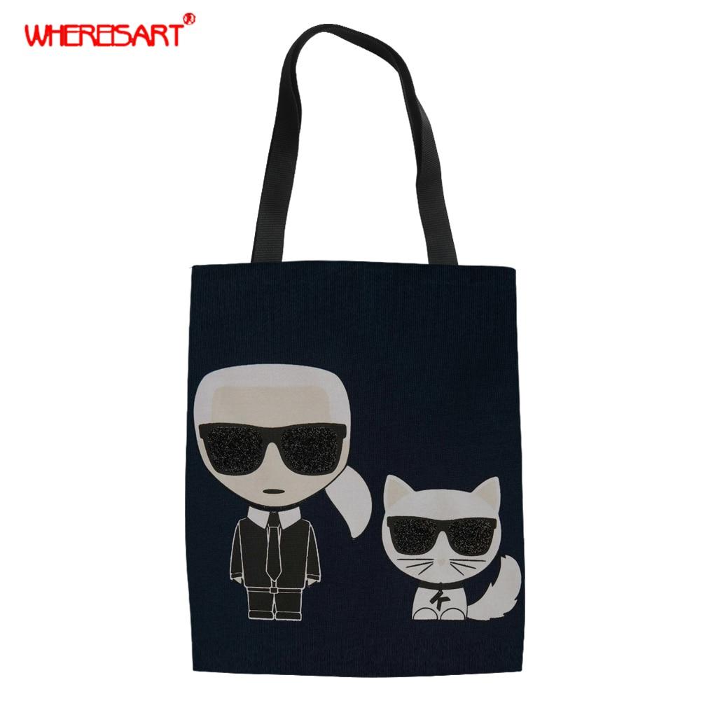 WHEREISART Women Canvas Shoulder Bag Karl Lagerfelds Print Ladies Shopping Bag Feminina Black & White Logo Cloth Handbag Tote