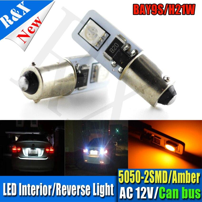 10X BA9S Canbus 2SMD 5050 <font><b>LED</b></font> Canbus T4W <font><b>BAX9S</b></font> <font><b>H6W</b></font> BAY9S H21W белый янтарь AC12V автомобиля боковой Клин просвет маркер обратный лампы
