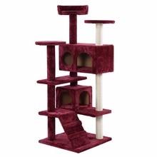 Новый Кот Дерево Башня Кондо Мебель Нуля Сообщение Kitty Дом Любимчика Играть Вина PS5791WINE