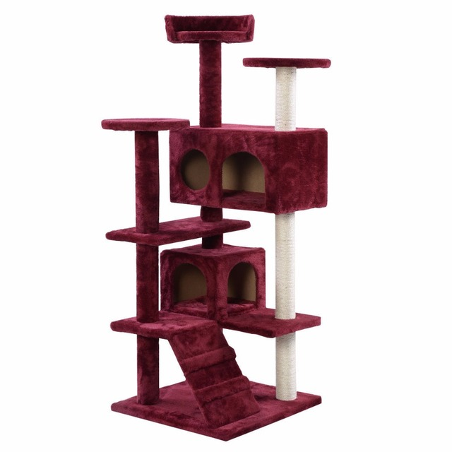 Wonderful New Cat Tree Tower Condo Furniture Scratch Post Kitty Pet House Play Wine  PS5791WINE