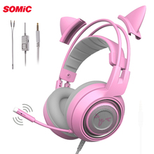 SOMiC G951S DJ PS4 Gaming Headset casque Wired PC Stereo Cat Earphones Headphones with Microphone for New Xbox One Laptop Gamer cheap Dynamic 103±3dBdB 2 2mm For Mobile Phone For Internet Bar for Video Game Monitor Headphone HiFi Headphone Common Headphone